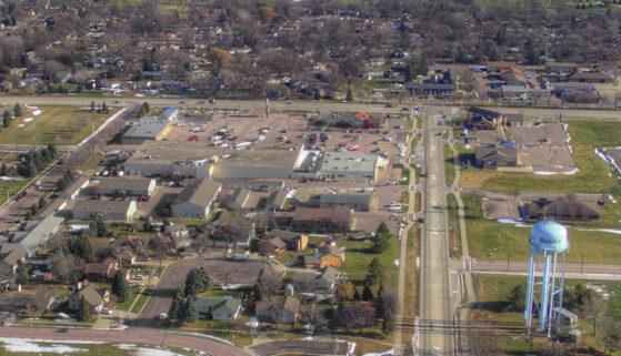 Aerial view of the city of Brandon